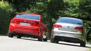 BMW 320d Automatik, VW Passat 2.0 TDI DSG, Heckansicht