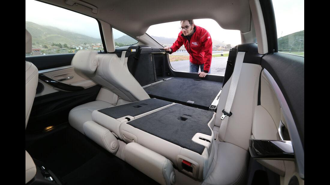 BMW 320d GT, Ladfläche, Rücksitz, Umklappen