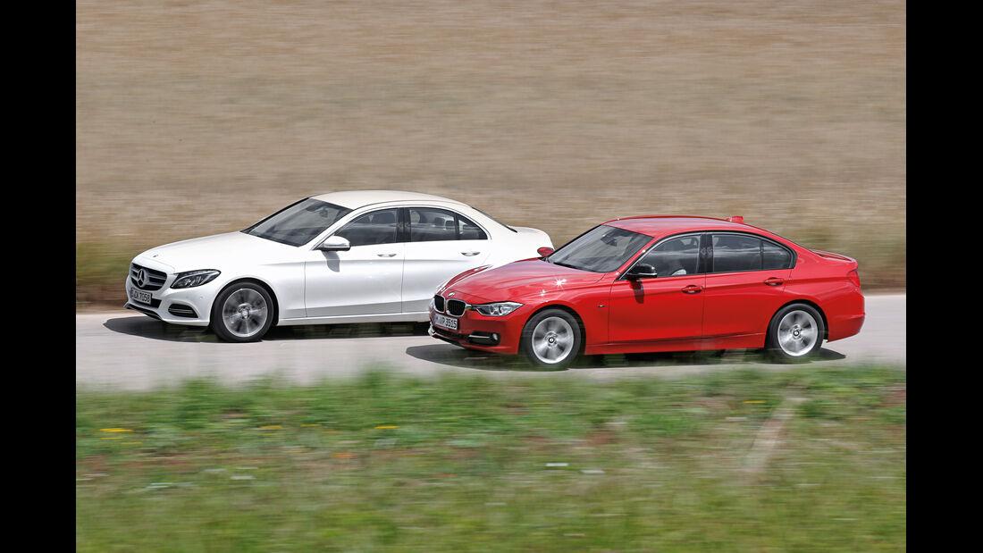 BMW 320d, Mercedes C 220 Bluetec, Seitenansicht