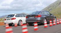 BMW 320d Touring, BMW 320d GT, Heckansicht, Bremstest