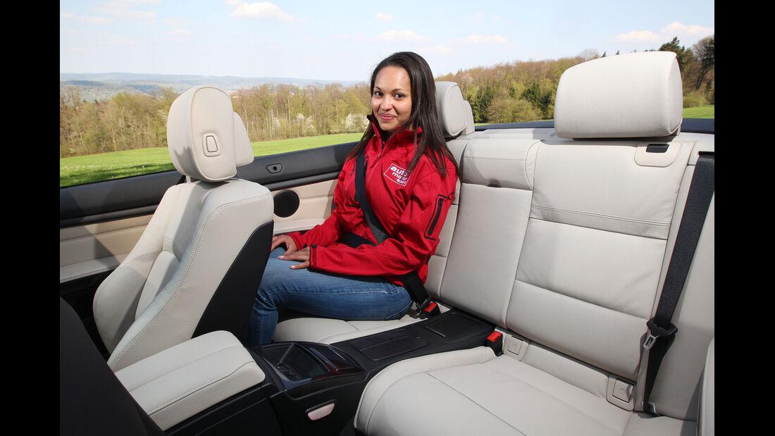 BMW 320i Cabrio, Rücksitz, Beinfreiheit