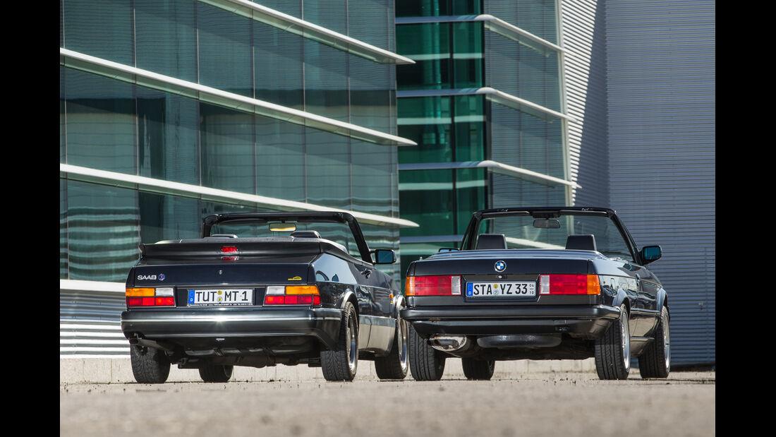 BMW 320i Cabrio, Saab 900 S Cabrio, Heckansicht