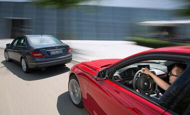 BMW 320i, Mercedes C 200, Heckansicht