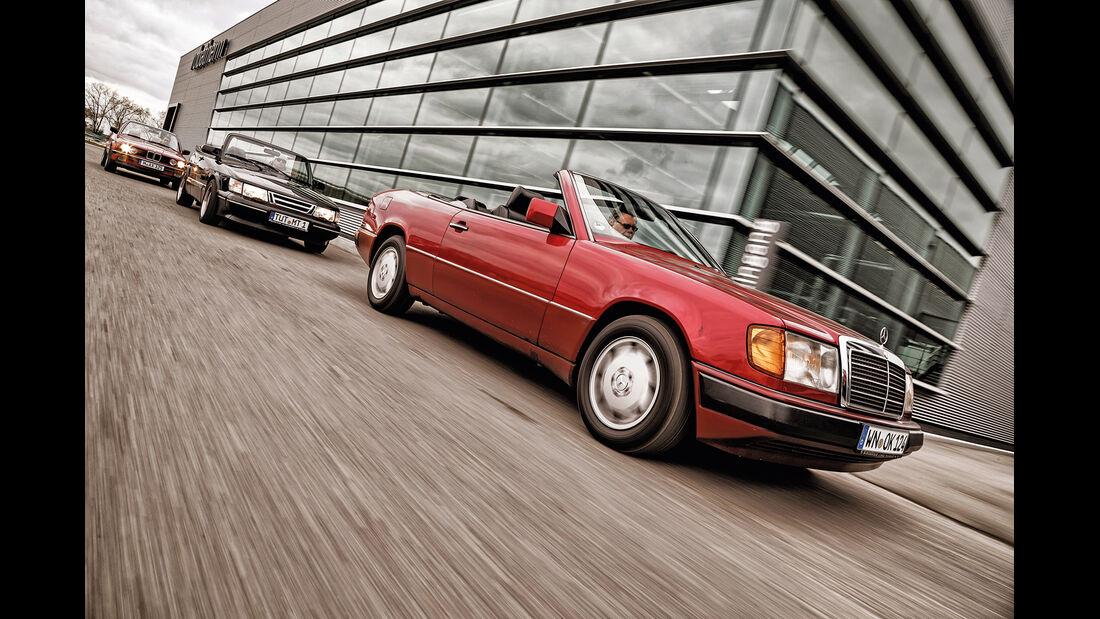 BMW 325i, Mercedes 300 CE-24, Saab 900, Seitenansicht