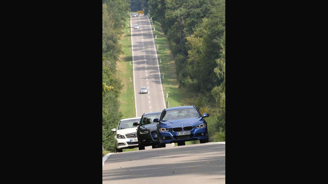 BMW 330d Touring, Mercedes C 350 CDi T, Audi A4 Avant 3.0 Quattro, Frontansicht