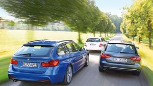 BMW 330d Touring, Mercedes C 350 CDi T, Audi A4 Avant 3.0 Quattro, Heckansicht