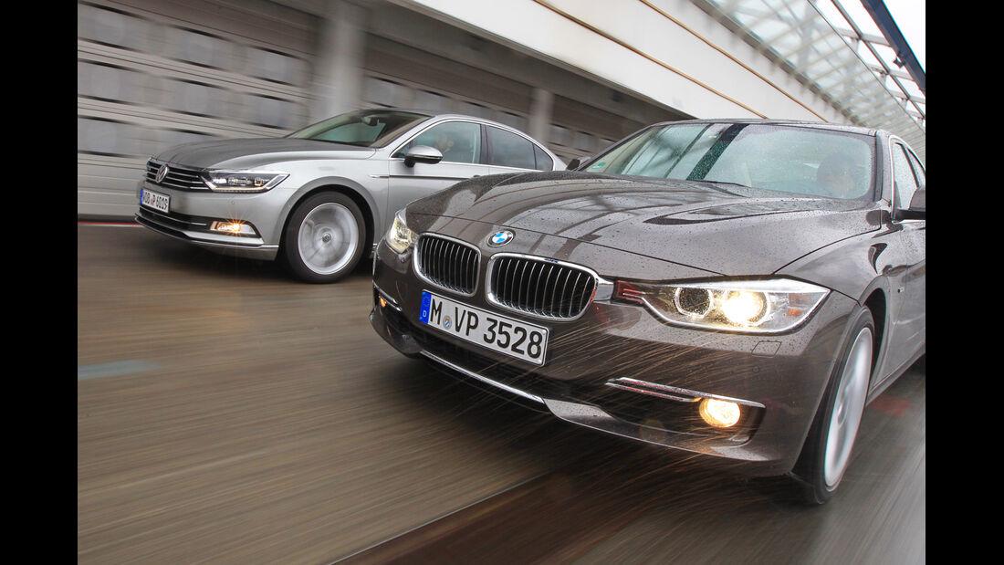 BMW 330d xDrive, VW Passat 2.0 TDI 4Motion, Frontansicht