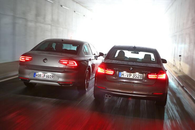 BMW 330d xDrive, VW Passat 2.0 TDI 4Motion, Heckansicht