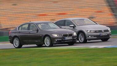 BMW 330d xDrive, VW Passat 2.0 TDI 4Motion, Seitenansicht