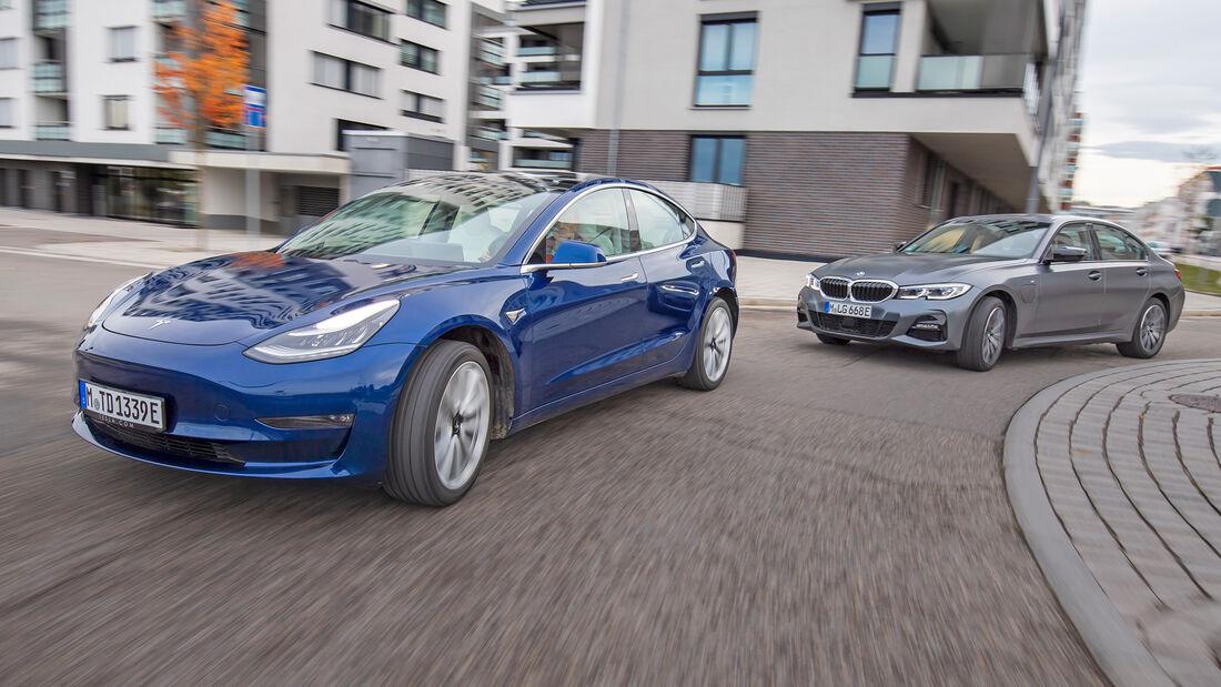 BMW 330e, Tesla Model 3, Exterieur
