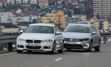 BMW 330e, VW Passat GTE, Frontansicht