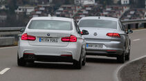 BMW 330e, VW Passat GTE, Heckansicht