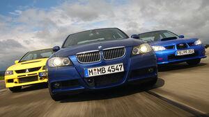 BMW 335i, Mitsubishi Lancer EVO IX, Subaru Impreza WRX STi