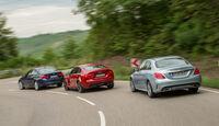 BMW 340i, Jaguar XE S, Mercedes C 400 4Matic, Heckansicht