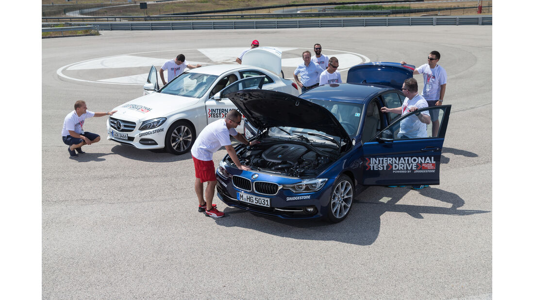BMW 340i, Mercedes C400 4Matic, Testcrew