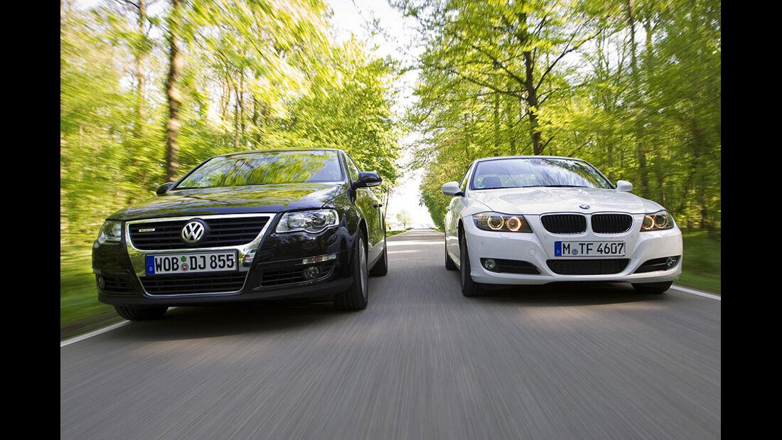 BMW 3er 320d Efficient Dynamics Edition, VW Passat Blue TDI