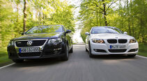 BMW 3er 320d Efficient Dynamics Edition, VW Passat Blue TDI