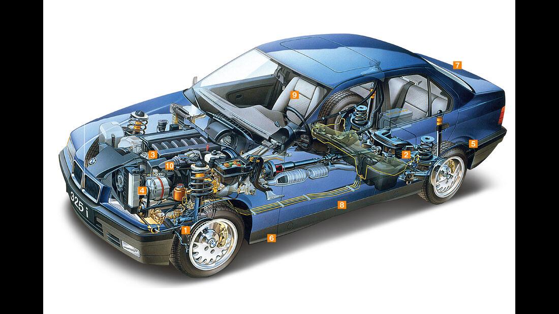 BMW 3er-Reihe E36, Schwachpunkte, Igelbild