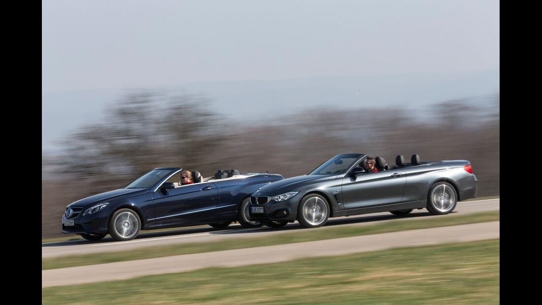 BMW 428i Cabrio, Mercedes E 300 Cabrio, Seitenansicht