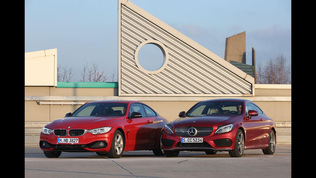 BMW 428i Coupé, Mercedes C 300 Coupé, Frontansicht