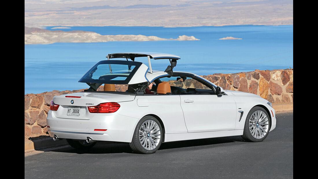 BMW 435i Cabrio, Seitenansicht, Verdeck öffnet