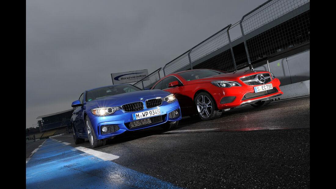 BMW 435i Coupé, Mercedes E 400 Coupé, Frontansicht