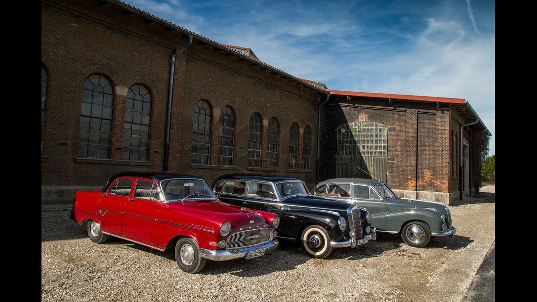 BMW 502, Mercedes 300, Opel Kapitän, Seitenansicht