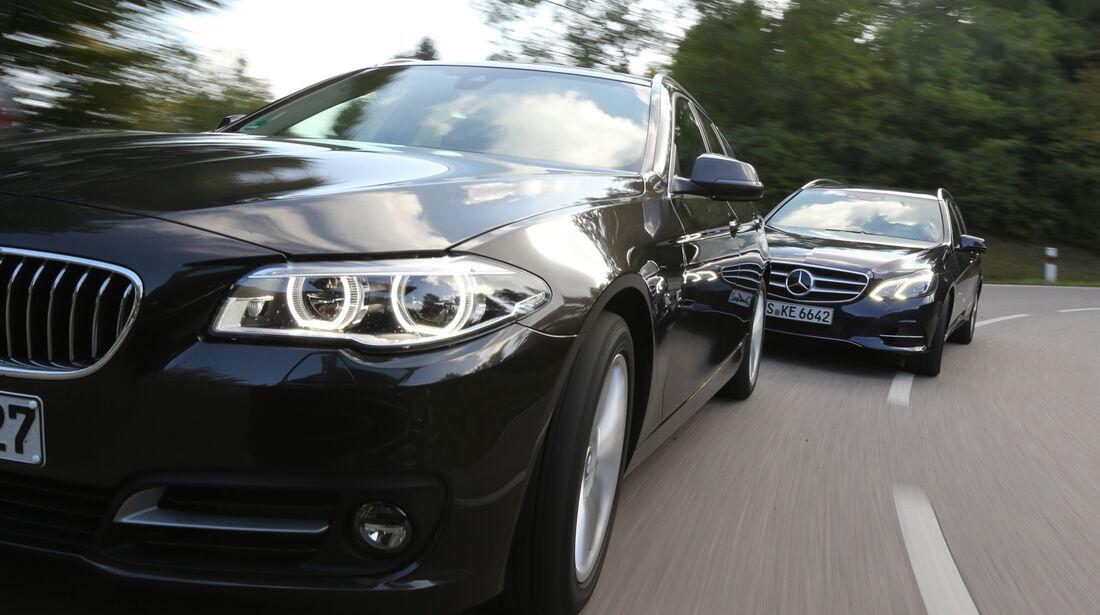 BMW 518d Touring, Mercedes E 200 CDI T, Frontansicht