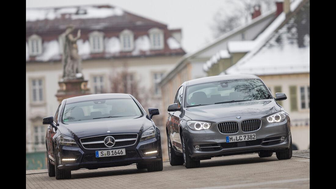 BMW 520d GT, Mercedes CLS 250 CDI SB, Frontansicht