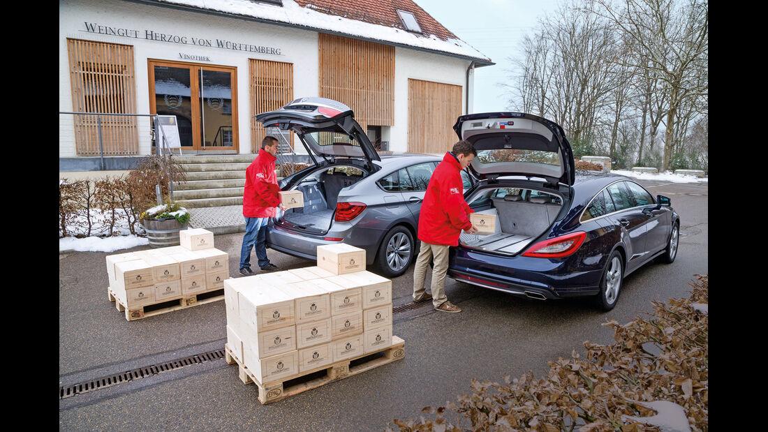 BMW 520d GT, Mercedes CLS 250 CDI SB, Heckansicht, Heckklappe