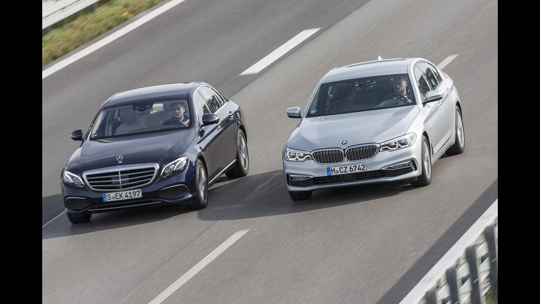 BMW 520d, Mercedes E 220 d, Exterieur Front