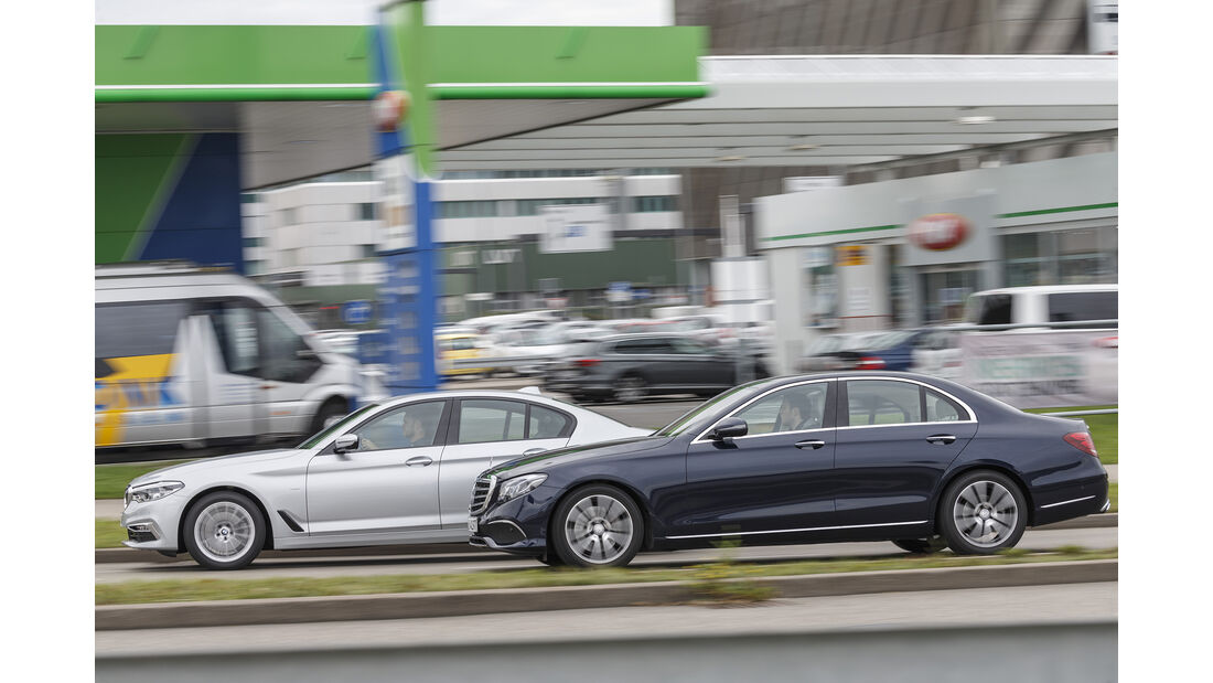 BMW 520d, Mercedes E 220 d, Exterieur Seite