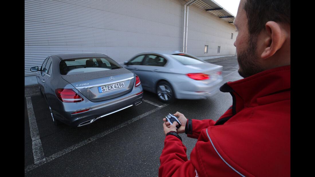 BMW 520d, Mercedes E 220 d, Fernentriegelung