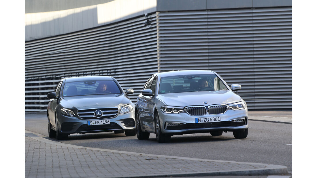 BMW 520d, Mercedes E 220 d, Frontansicht