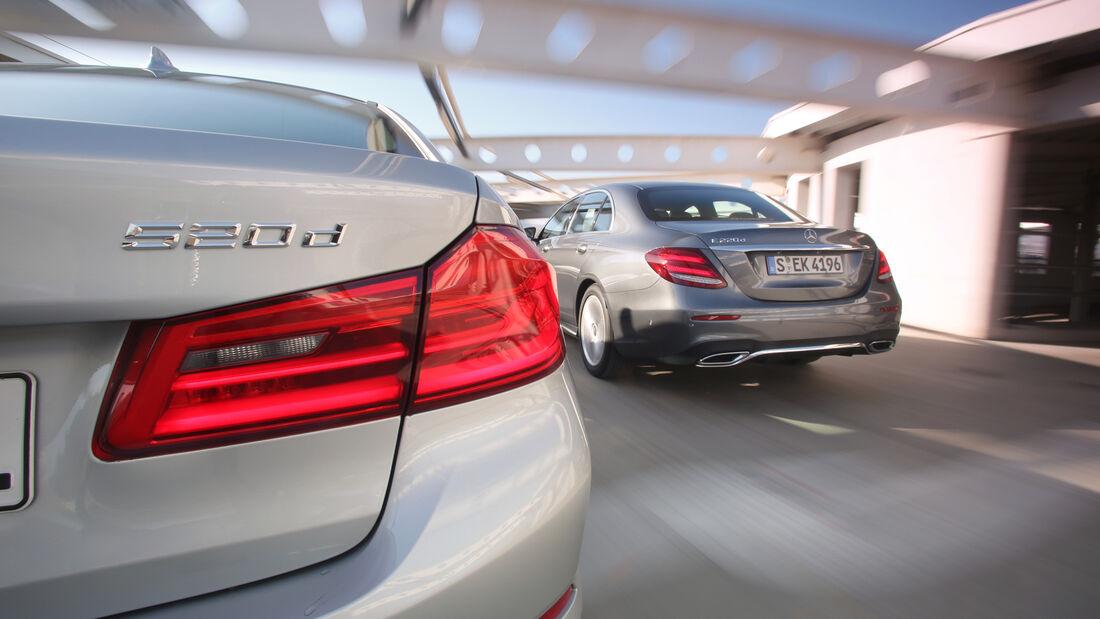 BMW 520d, Mercedes E 220 d, Heck