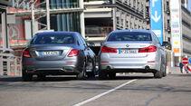 BMW 520d, Mercedes E 220 d, Heckansicht