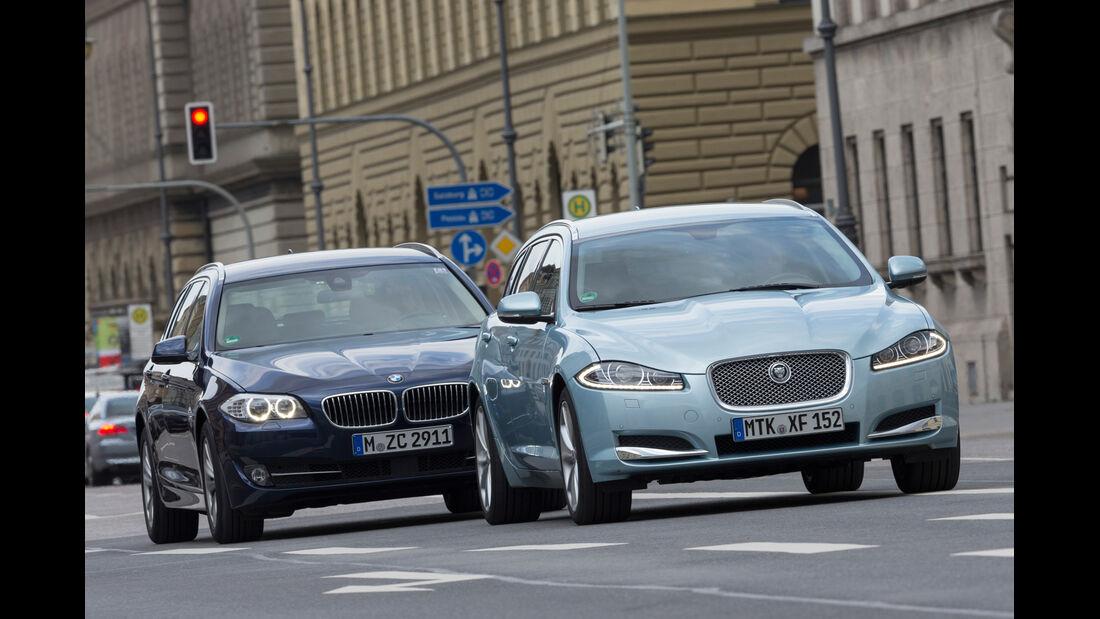 BMW 520d Touring, Jaguar XF Sportbrake 2.2D, Frontansicht