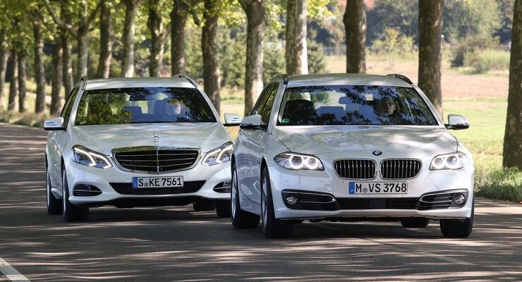 BMW 520d Touring, Mercedes E 220 Bluetec T, Frontansicht