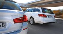 BMW 520d Touring, Mercedes E 220 Bluetec T, Heckansicht