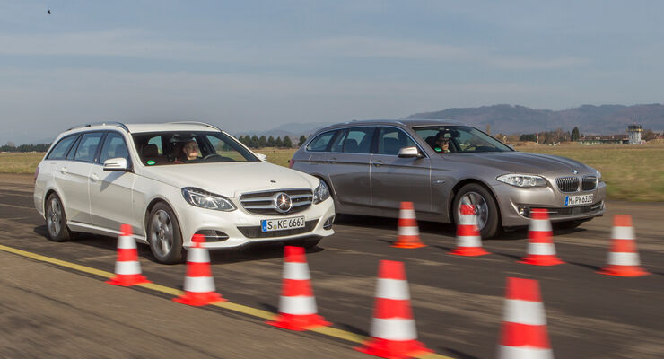 BMW 520i Touring, Mercedes E 200 T, Frontansicht, Bremstest
