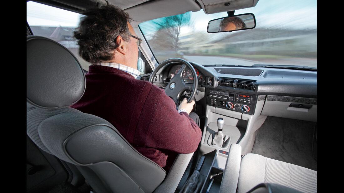 BMW 524 TD, Cockpit, Fahrer