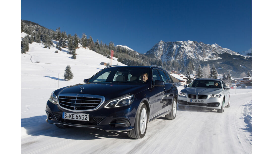 BMW 525d Touring xDrive, Mercedes E 250 CDI T 4matic, Frontansicht