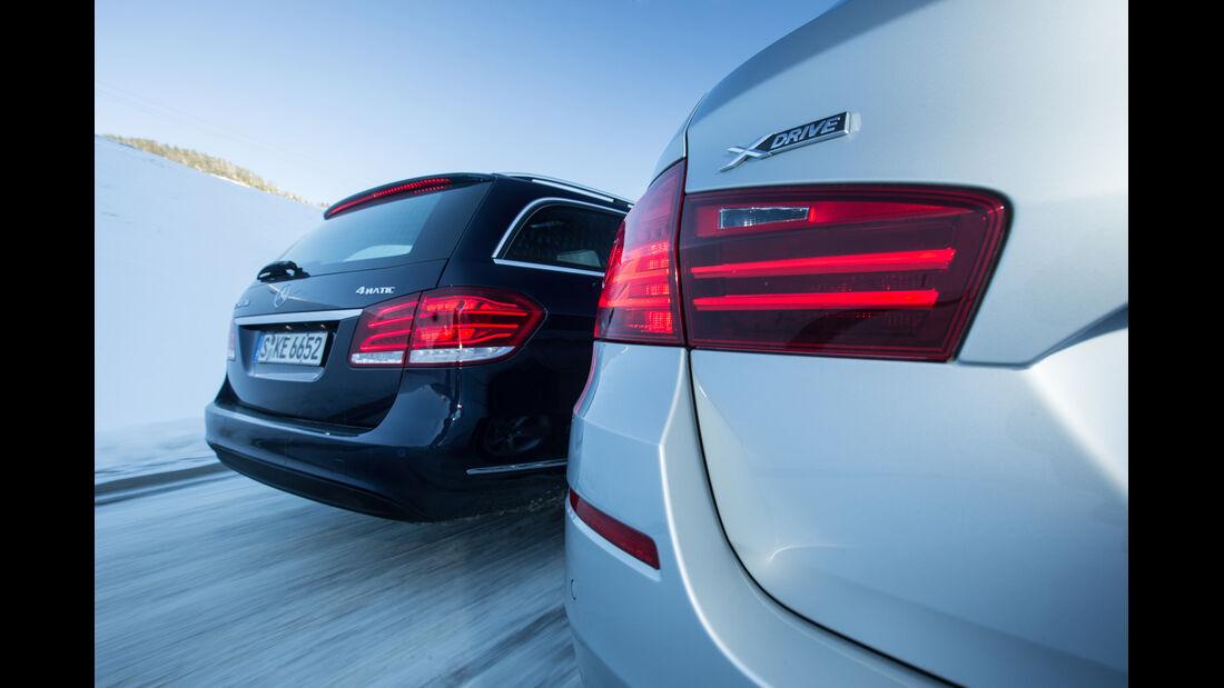 BMW 525d Touring xDrive, Mercedes E 250 CDI T 4matic, Heckleuchten