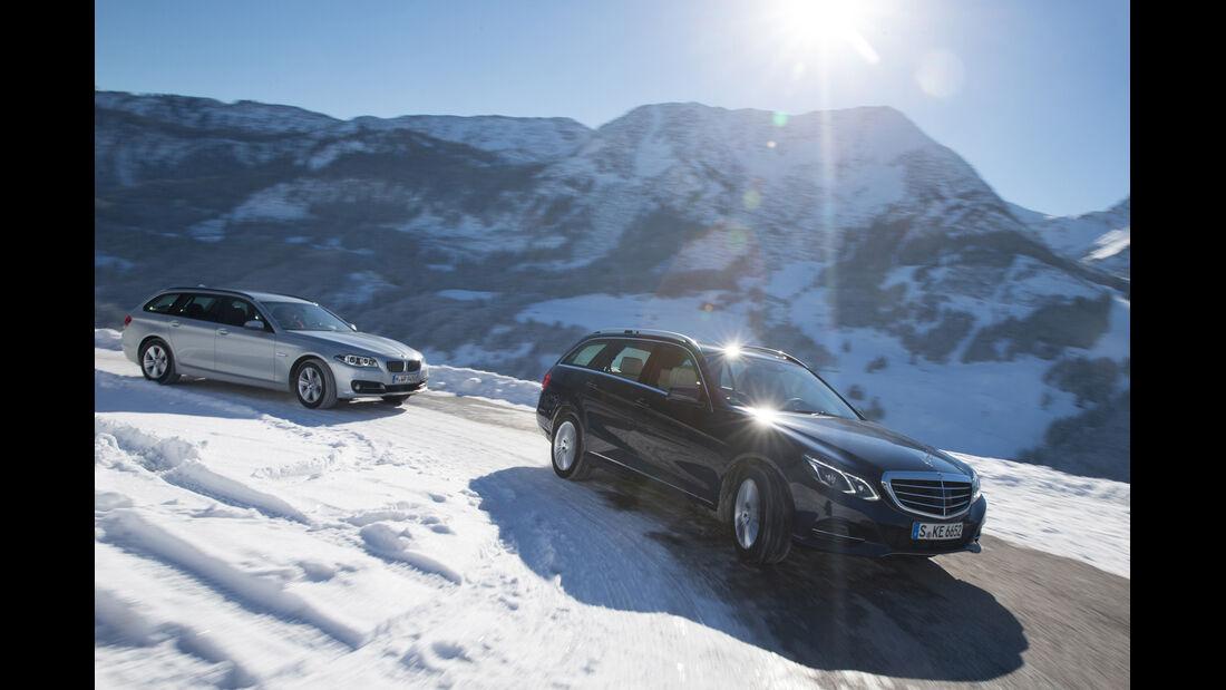BMW 525d Touring xDrive, Mercedes E 250 CDI T 4matic, Seitenansicht
