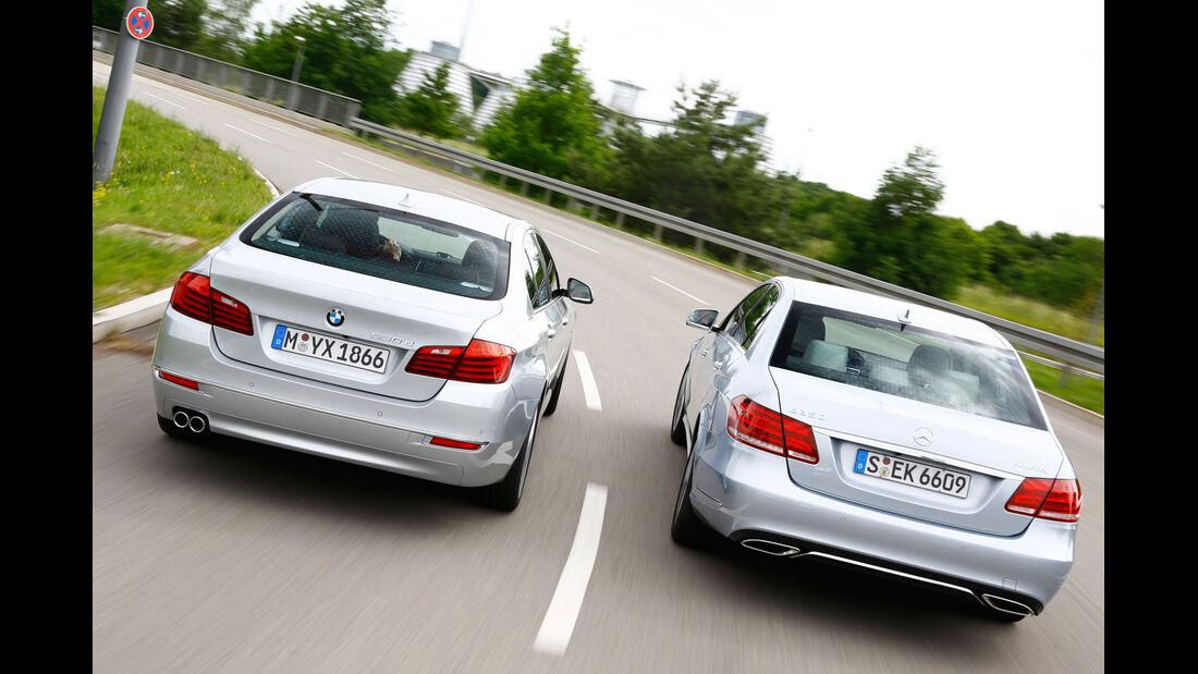 BMW 530d, Mercedes E 350 Bluetec, Heckansicht