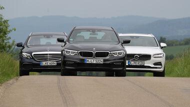 BMW 530d Touring, Mercedes E 350 d T, Volvo V90 D5 AWD Front