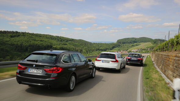 BMW 530d Touring, Mercedes E 350 d T, Volvo V90 D5 AWD Heck