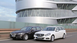 BMW 535i Touring xDrive, Mercedes E 400 T 4Matic, Frontansicht