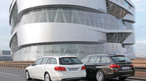 BMW 535i Touring xDrive, Mercedes E 400 T 4Matic, Heckansicht