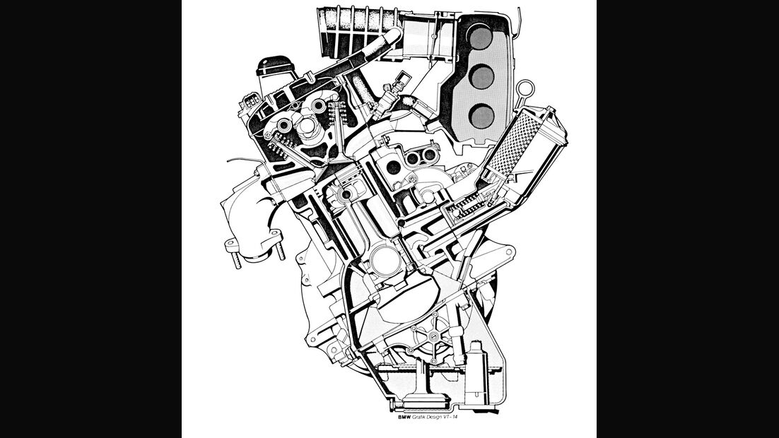 BMW 535i, Zeichnung, Motor